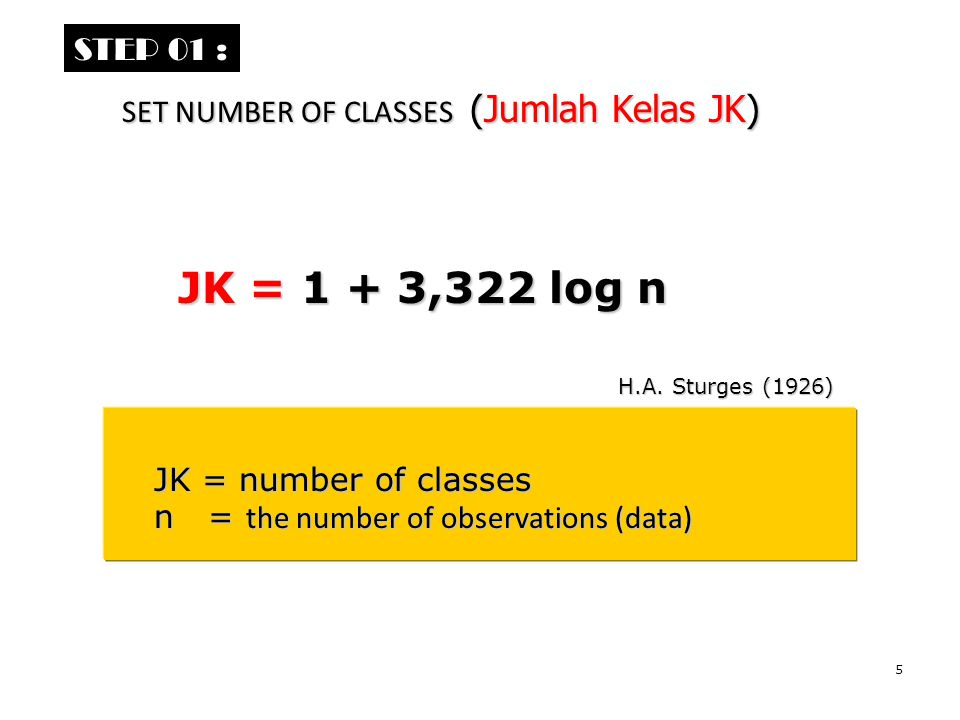 6 Form the data, number of classes are JK = 1 + 3,322 log 60 = 1 + 3,322 (1,778) = 1 + 3,322 (1,778) = 1 + 5,907 = 1 + 5,907 = 6,907 ≈ 7 class = 6,907 ≈ 7 class