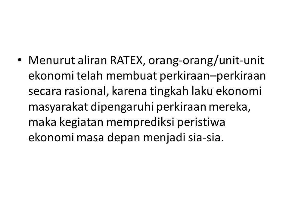 Menurut aliran RATEX, orang-orang/unit-unit ekonomi telah membuat perkiraan–perkiraan secara rasional, karena tingkah laku ekonomi masyarakat dipengar