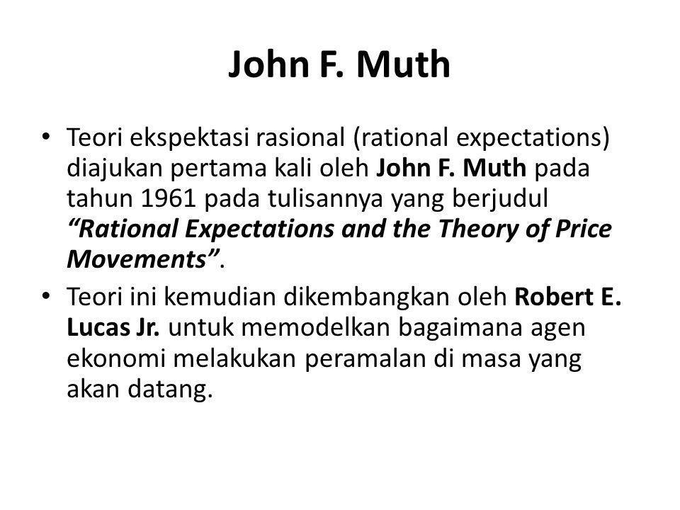 """John F. Muth Teori ekspektasi rasional (rational expectations) diajukan pertama kali oleh John F. Muth pada tahun 1961 pada tulisannya yang berjudul """""""