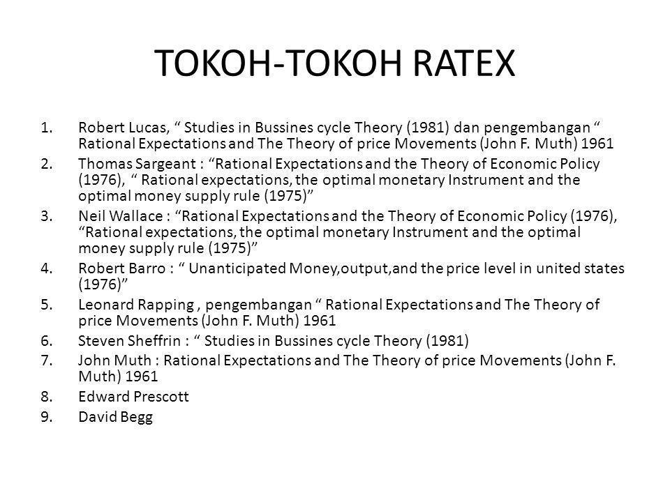 "TOKOH-TOKOH RATEX 1.Robert Lucas, "" Studies in Bussines cycle Theory (1981) dan pengembangan "" Rational Expectations and The Theory of price Movements"