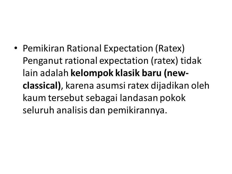 Pemikiran Rational Expectation (Ratex) Penganut rational expectation (ratex) tidak lain adalah kelompok klasik baru (new- classical), karena asumsi ra