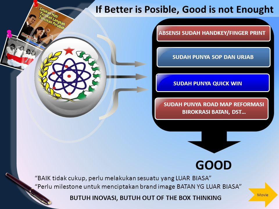 SUDAH PUNYA SOP DAN URJAB ABSENSI SUDAH HANDKEY/FINGER PRINT SUDAH PUNYA QUICK WIN SUDAH PUNYA ROAD MAP REFORMASI BIROKRASI BATAN, DST… 9 If Better is Posible, Good is not Enought GOOD BAIK tidak cukup, perlu melakukan sesuatu yang LUAR BIASA Perlu milestone untuk menciptakan brand image BATAN YG LUAR BIASA BUTUH INOVASI, BUTUH OUT OF THE BOX THINKING Movie