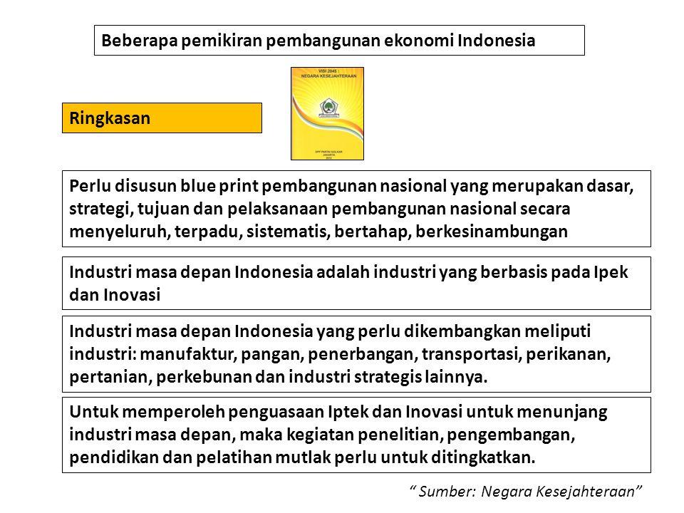 Beberapa pemikiran pembangunan ekonomi Indonesia Industri masa depan Indonesia adalah industri yang berbasis pada Ipek dan Inovasi Perlu disusun blue