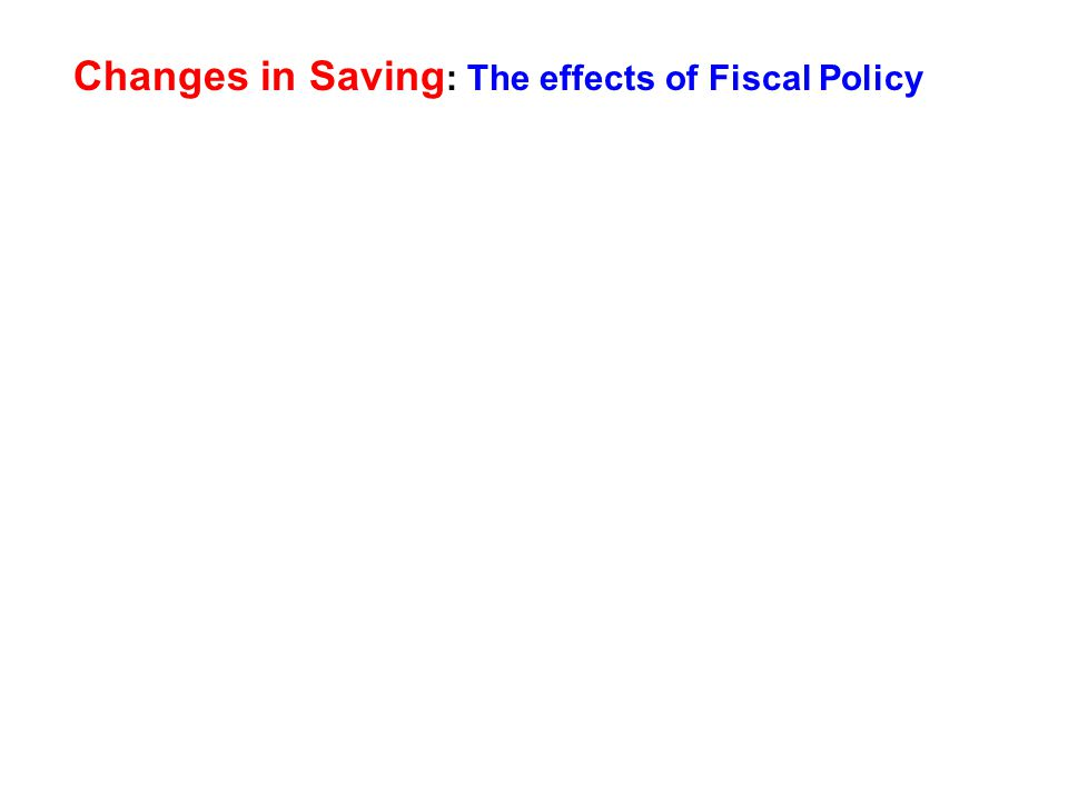 Changes in Saving : The effects of Fiscal Policy