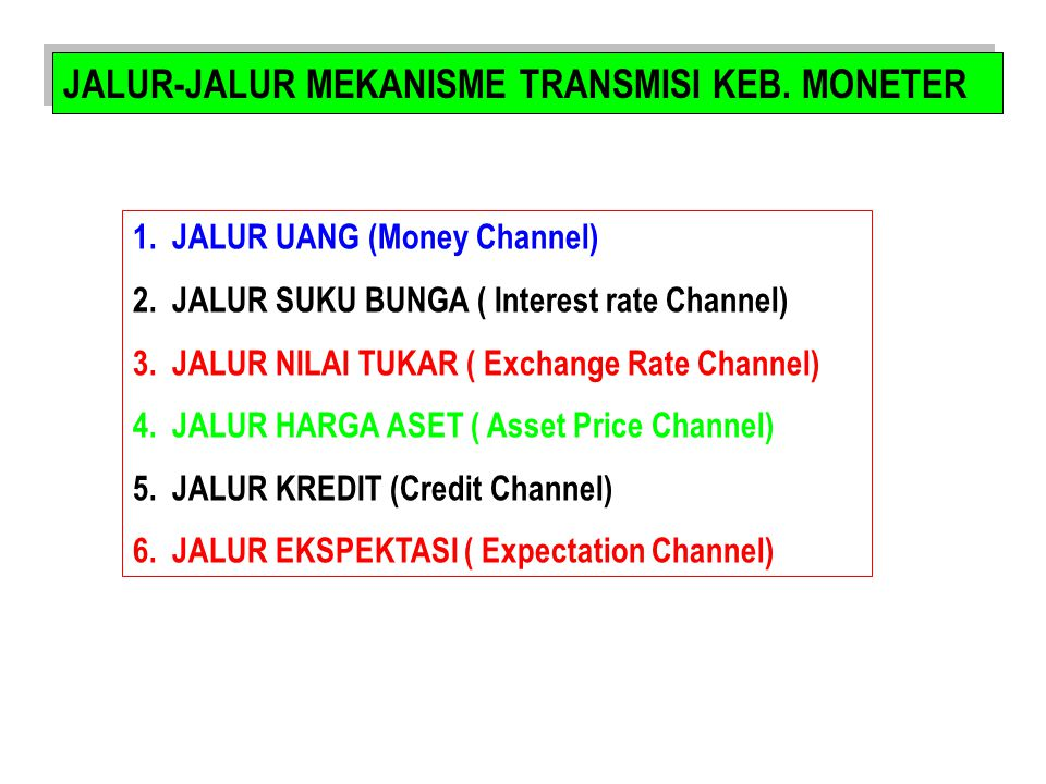 JALUR-JALUR MEKANISME TRANSMISI KEB. MONETER 1.JALUR UANG (Money Channel) 2.JALUR SUKU BUNGA ( Interest rate Channel) 3.JALUR NILAI TUKAR ( Exchange R