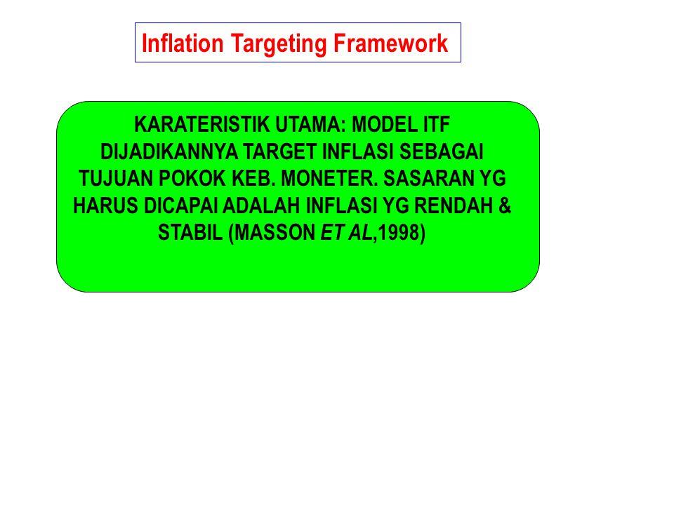 Inflation Targeting Framework KARATERISTIK UTAMA: MODEL ITF DIJADIKANNYA TARGET INFLASI SEBAGAI TUJUAN POKOK KEB. MONETER. SASARAN YG HARUS DICAPAI AD