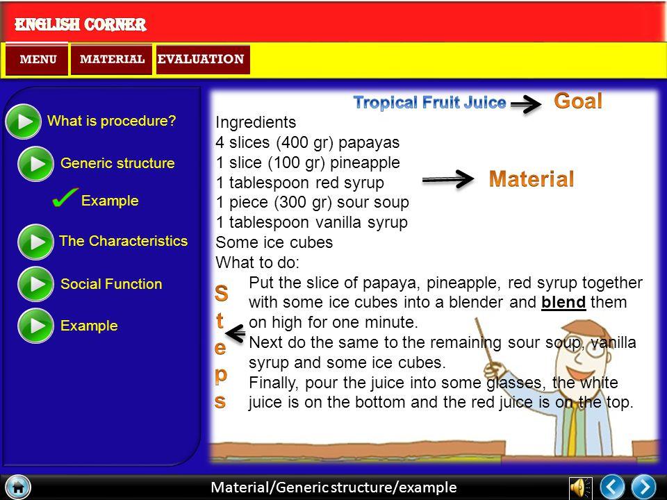 Material/Generic structure Title/Goal Judul Sebagai Tujuan dan Tujuan sebagai Judul Materials Bahan-bahan yang digunakan dalam membuat/ mengerjakan sesuatu Steps Langkah-langkah atau cara membuat What is procedure.