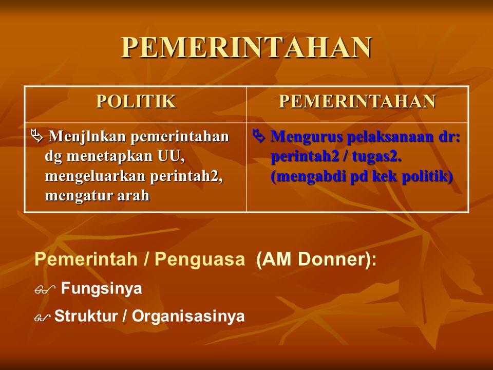 PEMERINTAHAN PEMERINTAHANPOLITIK  Mengurus pelaksanaan dr: perintah2 / tugas2. (mengabdi pd kek politik)  Menjlnkan pemerintahan dg menetapkan UU, m