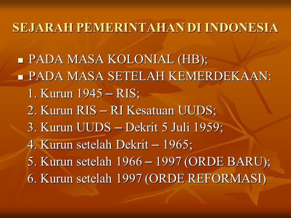 SEJARAH PEMERINTAHAN DI INDONESIA PADA MASA KOLONIAL (HB); PADA MASA KOLONIAL (HB); PADA MASA SETELAH KEMERDEKAAN: PADA MASA SETELAH KEMERDEKAAN: 1. K