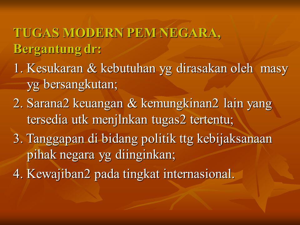 TUGAS MODERN PEM NEGARA, TUGAS MODERN PEM NEGARA, Bergantung dr: Bergantung dr: 1. Kesukaran & kebutuhan yg dirasakan oleh masy yg bersangkutan; 1. Ke