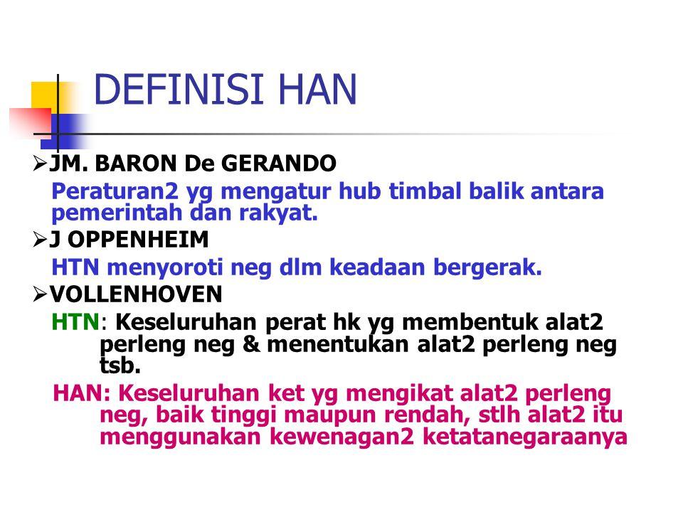 DEFINISI HAN  JM. BARON De GERANDO Peraturan2 yg mengatur hub timbal balik antara pemerintah dan rakyat.  J OPPENHEIM HTN menyoroti neg dlm keadaan