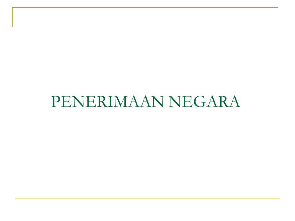 PENGERTIAN PENERIMAAN NEGARA Sebagai penerimaan pemerintah yang meliputi penerimaan pajak, penerimaan yang diperoleh dari hasil penjualan barang dan jasa yang dimiliki dan dihasilkan oleh pemerintah, pinjaman pemerintah (Suparmoko,2000).