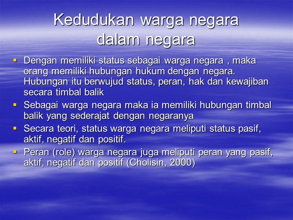 Kedudukan warga negara dalam negara  Dengan memiliki status sebagai warga negara, maka orang memiliki hubungan hukum dengan negara. Hubungan itu berw
