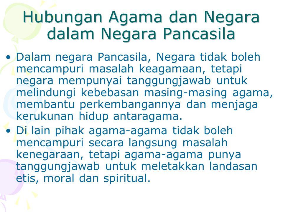 Agama dan Negara di Indonesia Ketika berdiri, Indonesia memilih Pancasila sebagai dasar dan bentuk negaranya. (Ini kompromi dari 3 kekuatan besar yang