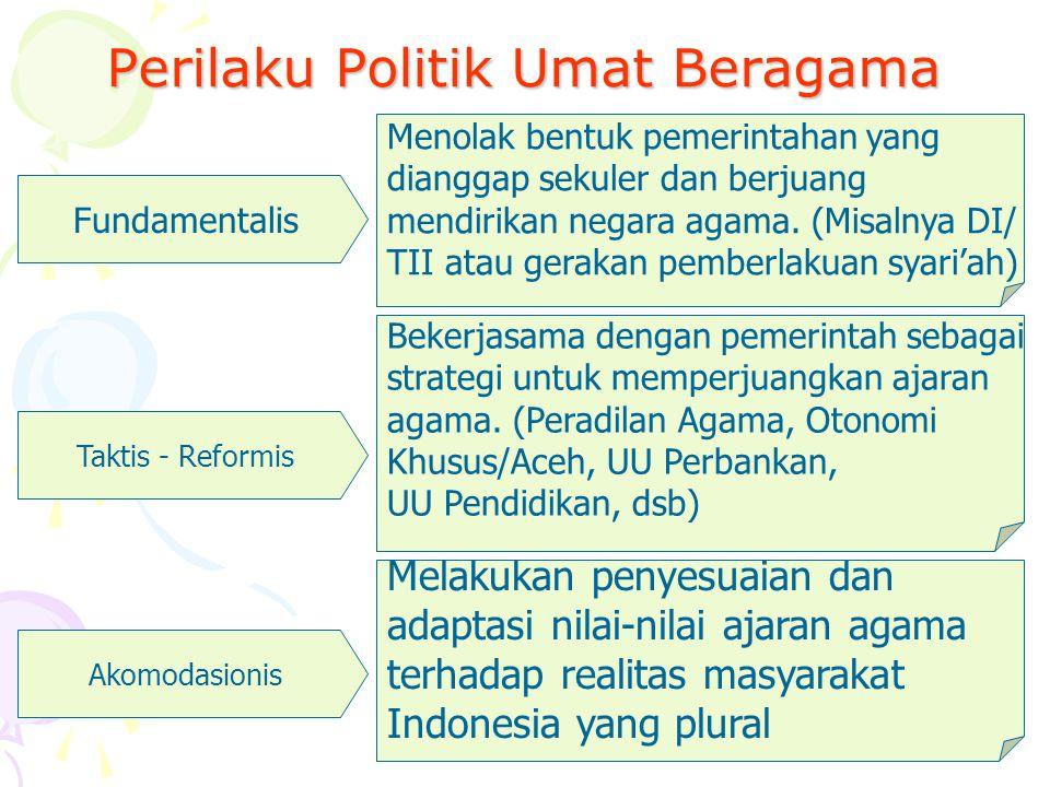 Persoalan Hubungan Agama dan Negara di Indonesia Negara sering campur tangan terlalu jauh pada masalah agama (mis: menentukan agama resmi; adanya depa
