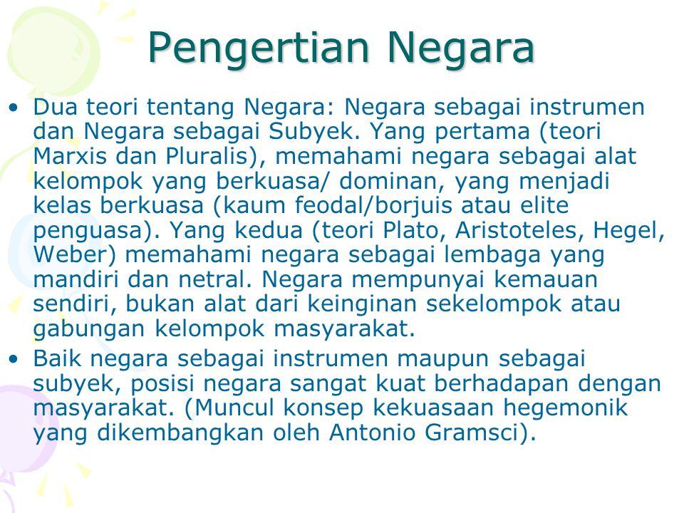 Persoalan Hubungan Agama dan Negara di Indonesia Negara sering campur tangan terlalu jauh pada masalah agama (mis: menentukan agama resmi; adanya departemen agama; adanya peradilan agama dll).