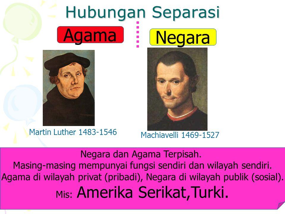 Hubungan Separasi Negara Agama Martin Luther 1483-1546 Machiavelli 1469-1527 Negara dan Agama Terpisah.