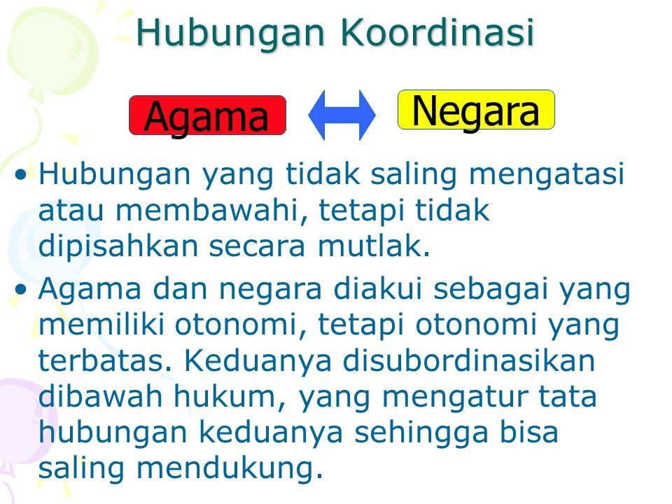 Hubungan Koordinasi Hubungan yang tidak saling mengatasi atau membawahi, tetapi tidak dipisahkan secara mutlak.