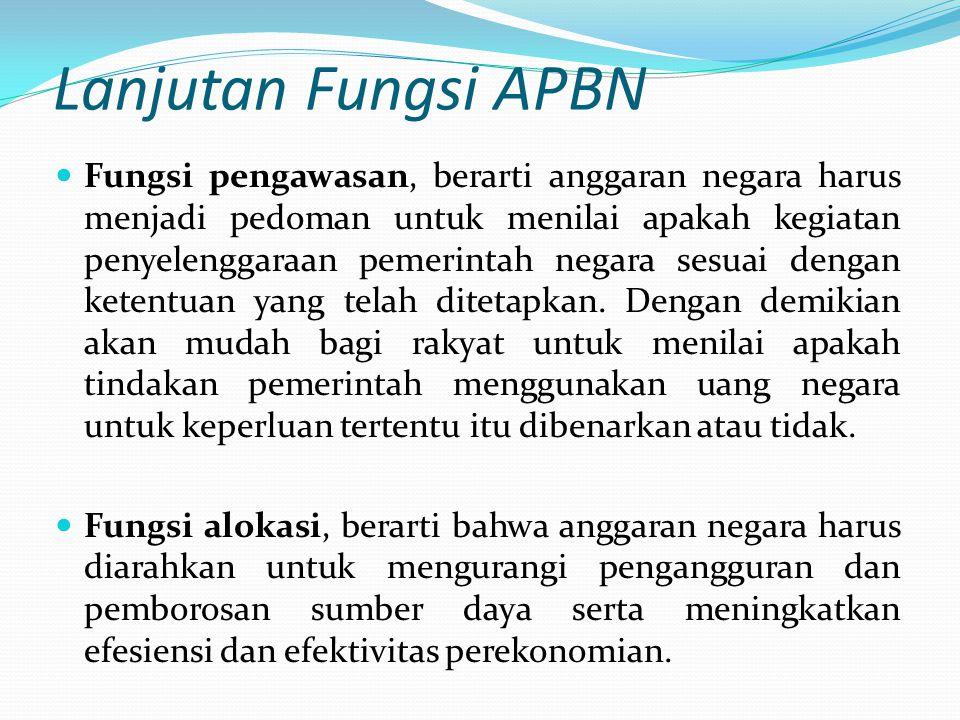 Lanjutan Fungsi APBN Fungsi pengawasan, berarti anggaran negara harus menjadi pedoman untuk menilai apakah kegiatan penyelenggaraan pemerintah negara sesuai dengan ketentuan yang telah ditetapkan.