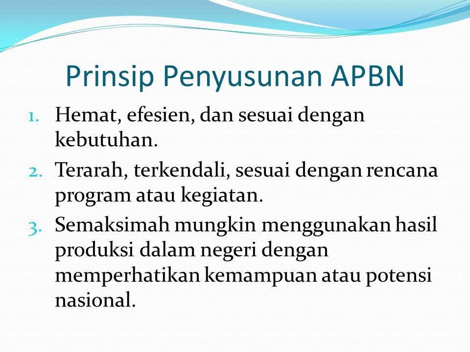 Prinsip Penyusunan APBN 1.Hemat, efesien, dan sesuai dengan kebutuhan.