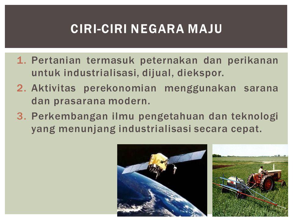 1.Pertanian termasuk peternakan dan perikanan untuk industrialisasi, dijual, diekspor.