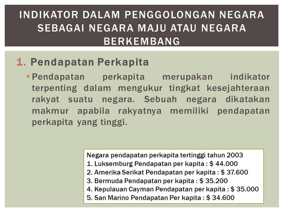 1.Pendapatan Perkapita  Pendapatan perkapita merupakan indikator terpenting dalam mengukur tingkat kesejahteraan rakyat suatu negara.