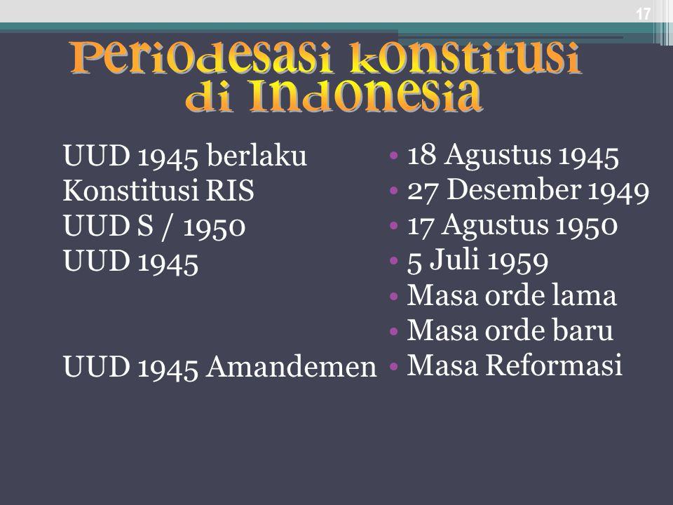 UUD 1945 berlaku Konstitusi RIS UUD S / 1950 UUD 1945 UUD 1945 Amandemen 17 18 Agustus 1945 27 Desember 1949 17 Agustus 1950 5 Juli 1959 Masa orde lam