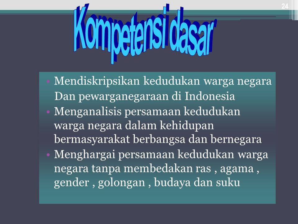 Mendiskripsikan kedudukan warga negara Dan pewarganegaraan di Indonesia Menganalisis persamaan kedudukan warga negara dalam kehidupan bermasyarakat be