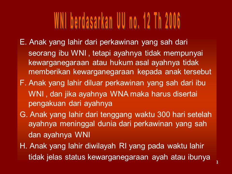 28 E. Anak yang lahir dari perkawinan yang sah dari seorang ibu WNI, tetapi ayahnya tidak mempunyai kewarganegaraan atau hukum asal ayahnya tidak memb