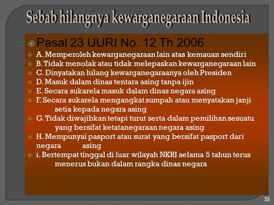 PPasal 23 UURI No. 12 Th 2006 AA. Memperoleh kewarganegaraan lain atas kemauan sendiri BB. Tidak menolak atau tidak melepaskan kewarganegaraan l