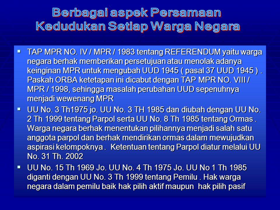 37 TTTTAP MPR NO. IV / MPR / 1983 tentang REFERENDUM yaitu warga negara berhak memberikan persetujuan atau menolak adanya keinginan MPR untuk meng