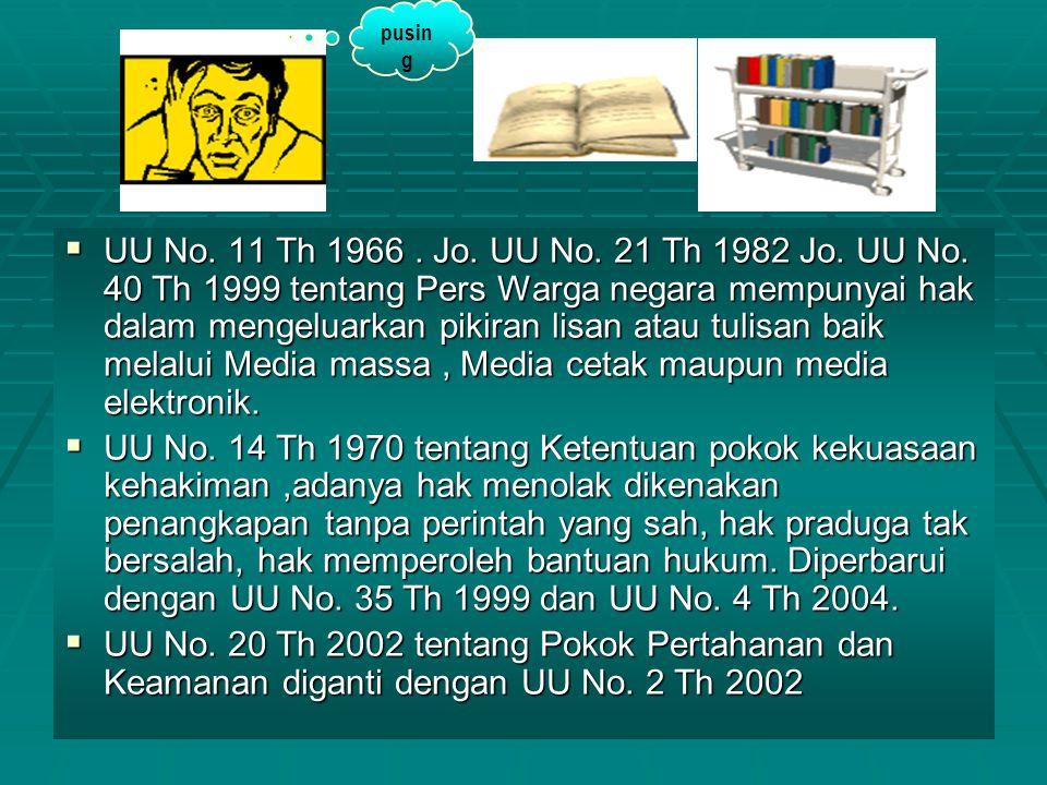 38 UUUUU No. 11 Th 1966. Jo. UU No. 21 Th 1982 Jo. UU No. 40 Th 1999 tentang Pers Warga negara mempunyai hak dalam mengeluarkan pikiran lisan atau