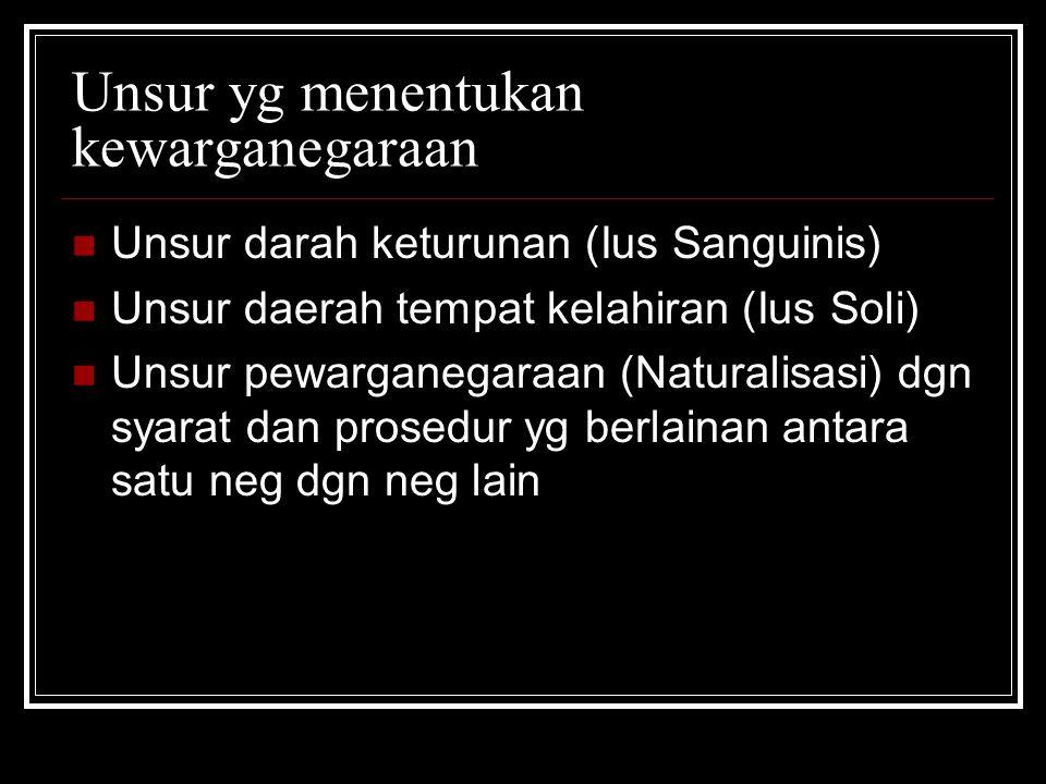 Unsur yg menentukan kewarganegaraan Unsur darah keturunan (Ius Sanguinis) Unsur daerah tempat kelahiran (Ius Soli) Unsur pewarganegaraan (Naturalisasi
