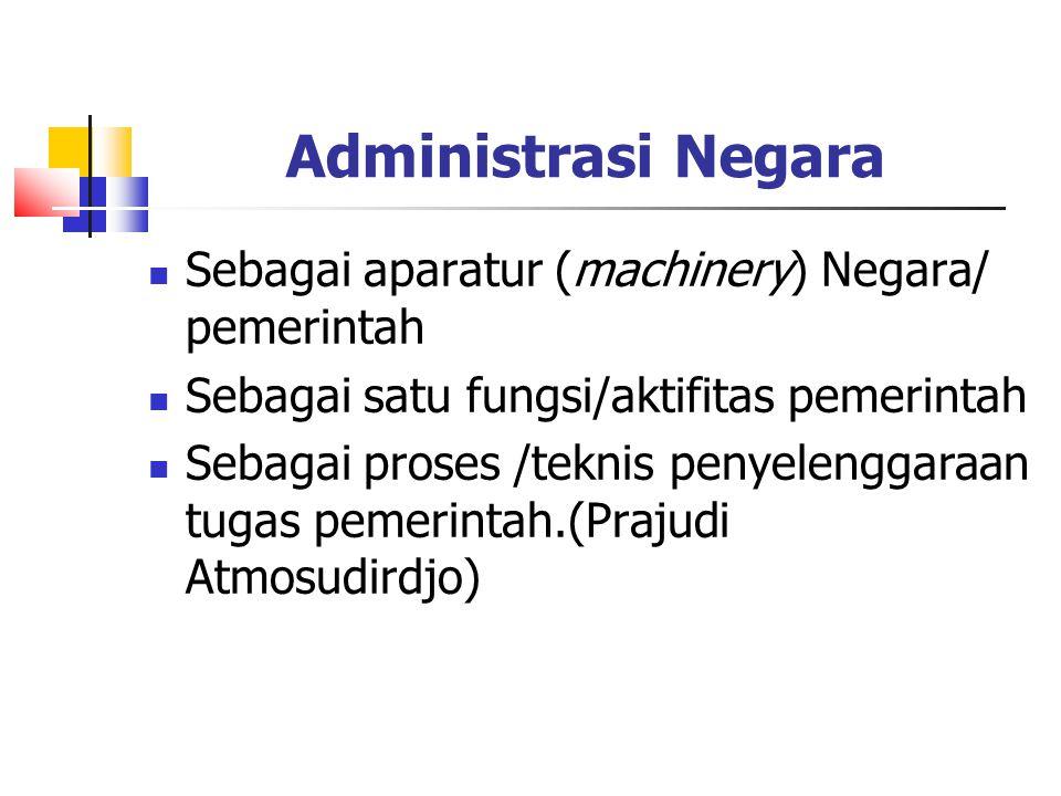 Administrasi Negara Sebagai aparatur (machinery) Negara/ pemerintah Sebagai satu fungsi/aktifitas pemerintah Sebagai proses /teknis penyelenggaraan tu