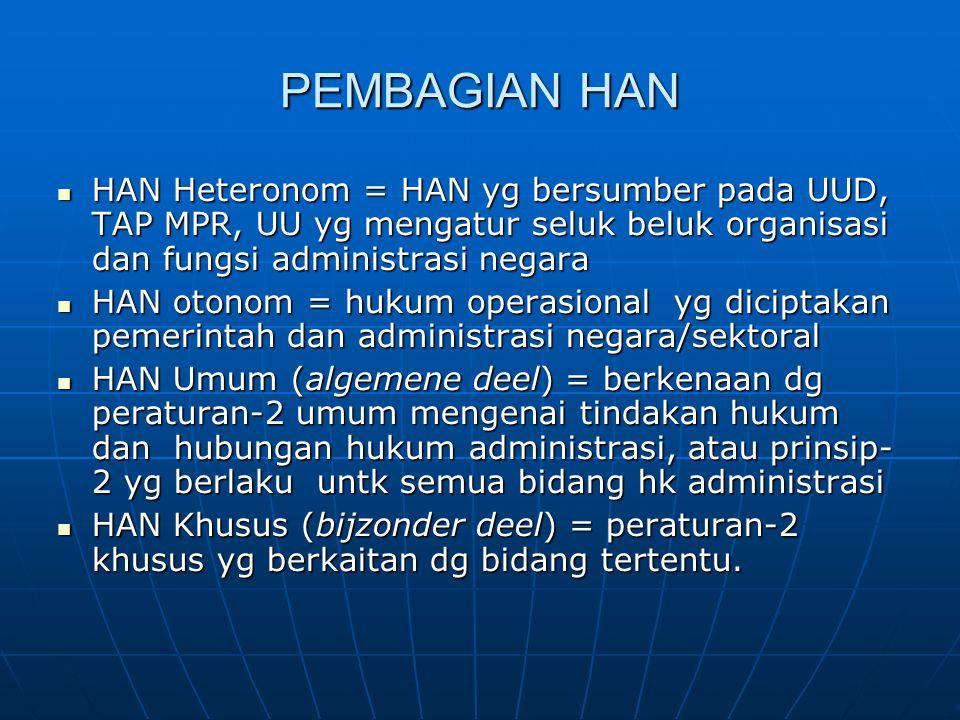 PEMBAGIAN HAN HAN Heteronom = HAN yg bersumber pada UUD, TAP MPR, UU yg mengatur seluk beluk organisasi dan fungsi administrasi negara HAN Heteronom =