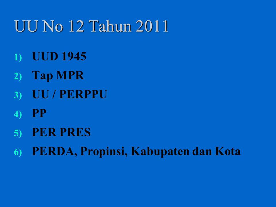 UU No 12 Tahun 2011 1) UUD 1945 2) Tap MPR 3) UU / PERPPU 4) PP 5) PER PRES 6) PERDA, Propinsi, Kabupaten dan Kota