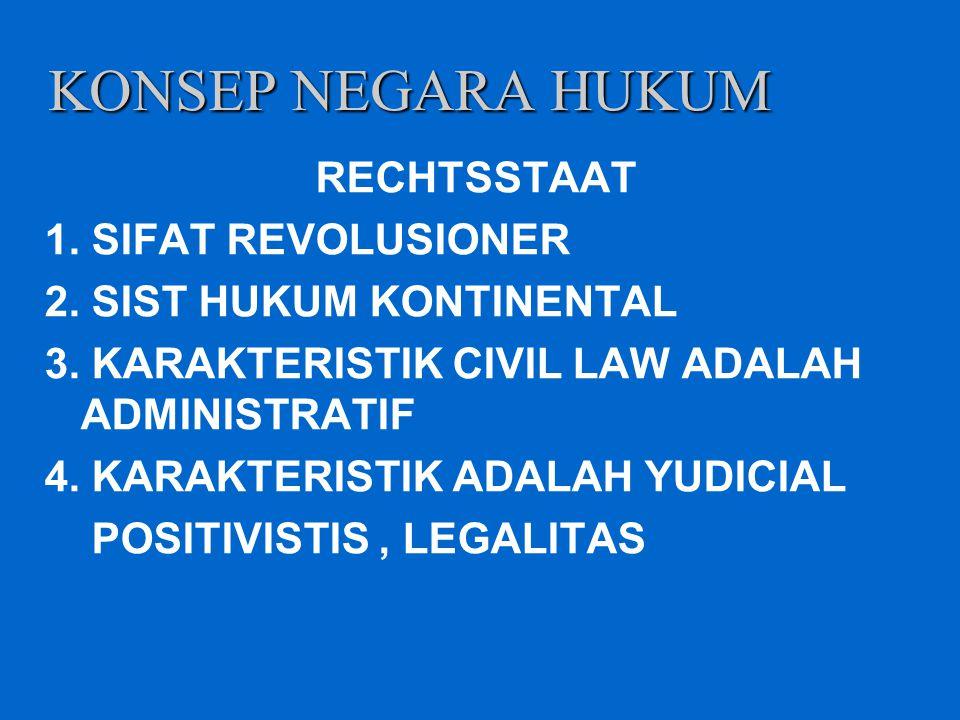 KONSEP NEGARA HUKUM RECHTSSTAAT 1. SIFAT REVOLUSIONER 2. SIST HUKUM KONTINENTAL 3. KARAKTERISTIK CIVIL LAW ADALAH ADMINISTRATIF 4. KARAKTERISTIK ADALA