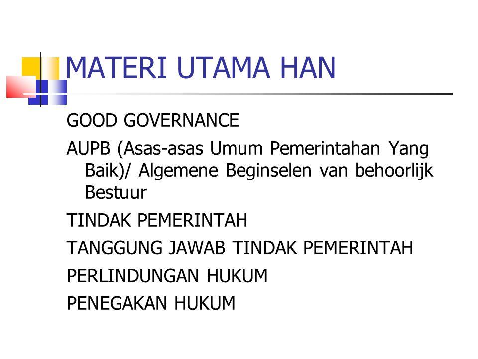 MATERI UTAMA HAN GOOD GOVERNANCE AUPB (Asas-asas Umum Pemerintahan Yang Baik)/ Algemene Beginselen van behoorlijk Bestuur TINDAK PEMERINTAH TANGGUNG J