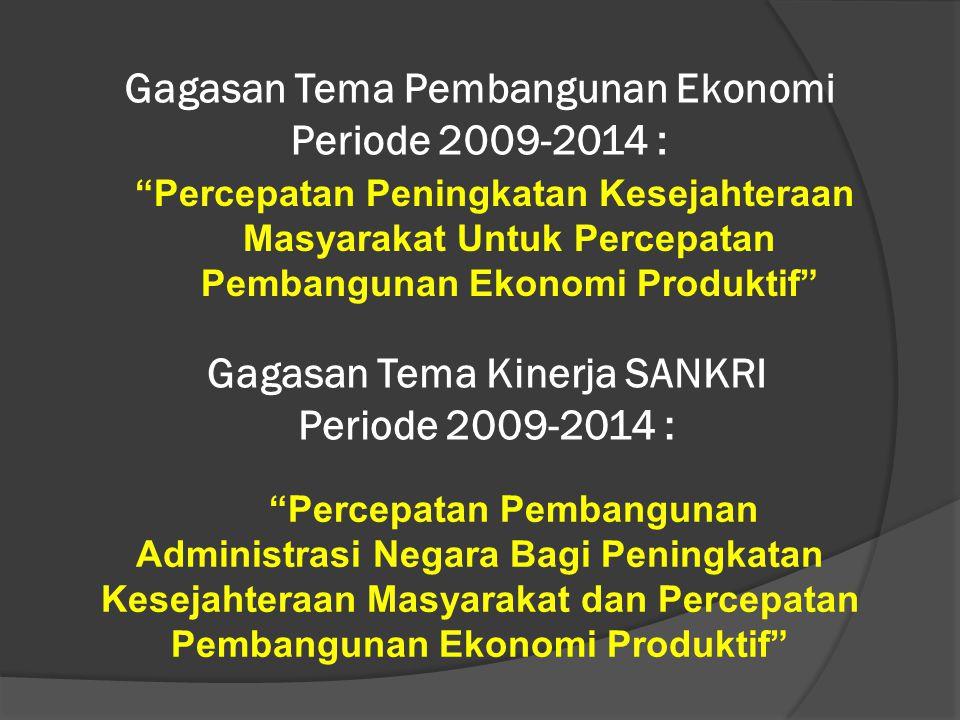 """Gagasan Tema Pembangunan Ekonomi Periode 2009-2014 : """"Percepatan Peningkatan Kesejahteraan Masyarakat Untuk Percepatan Pembangunan Ekonomi Produktif"""""""