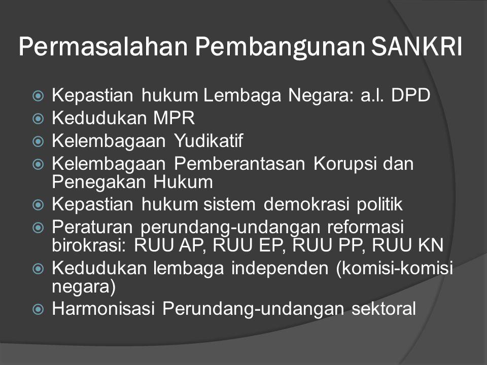 Permasalahan Pembangunan SANKRI  Kepastian hukum Lembaga Negara: a.l. DPD  Kedudukan MPR  Kelembagaan Yudikatif  Kelembagaan Pemberantasan Korupsi