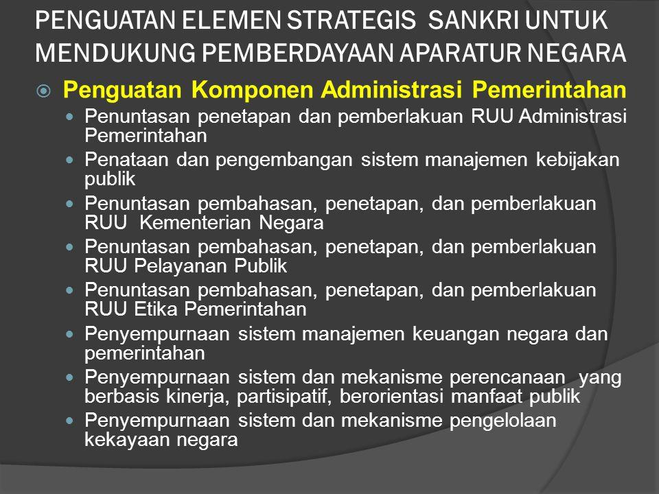  Penguatan Komponen Administrasi Pemerintahan Penuntasan penetapan dan pemberlakuan RUU Administrasi Pemerintahan Penataan dan pengembangan sistem ma