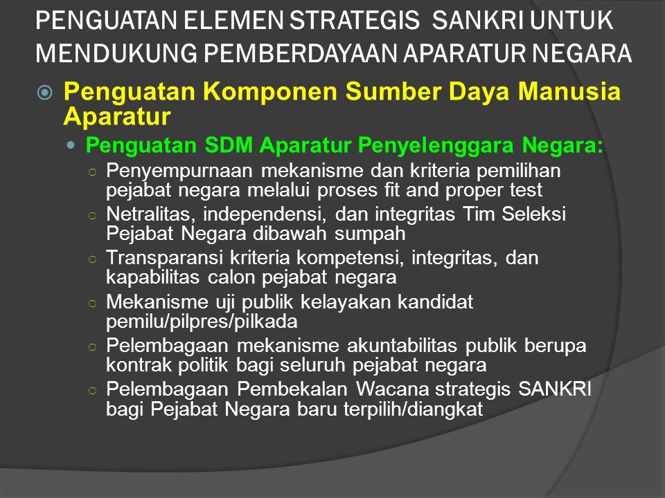  Penguatan Komponen Sumber Daya Manusia Aparatur Penguatan SDM Aparatur Penyelenggara Negara: ○ Penyempurnaan mekanisme dan kriteria pemilihan pejaba