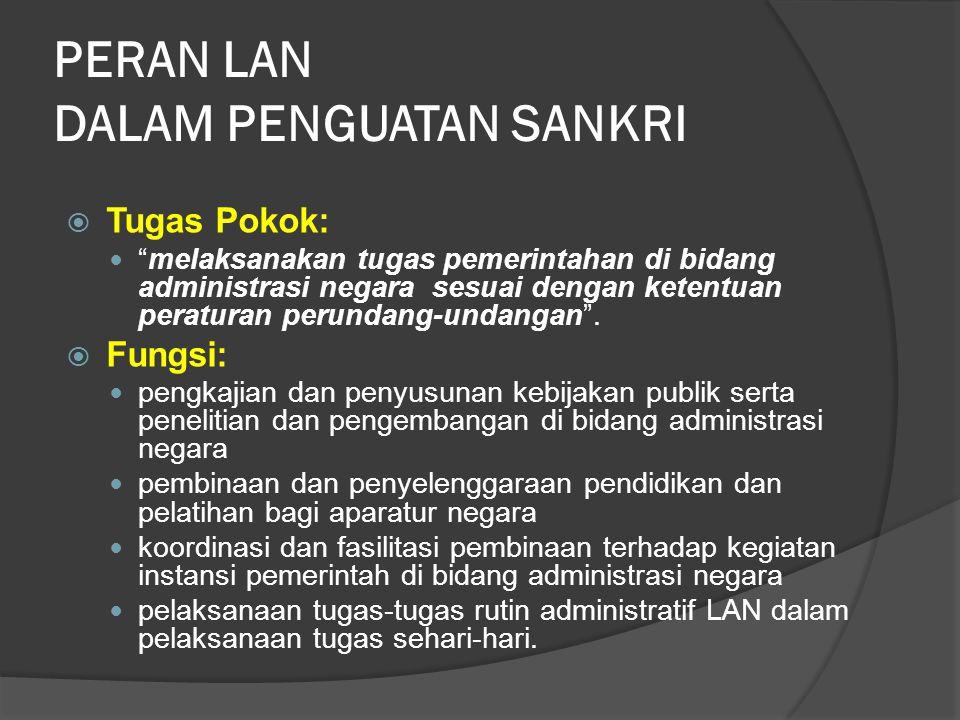 PERAN LAN DALAM PENGUATAN SANKRI  Tugas Pokok: melaksanakan tugas pemerintahan di bidang administrasi negara sesuai dengan ketentuan peraturan perundang-undangan .