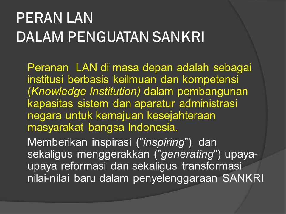 PERAN LAN DALAM PENGUATAN SANKRI Peranan LAN di masa depan adalah sebagai institusi berbasis keilmuan dan kompetensi (Knowledge Institution) dalam pembangunan kapasitas sistem dan aparatur administrasi negara untuk kemajuan kesejahteraan masyarakat bangsa Indonesia.