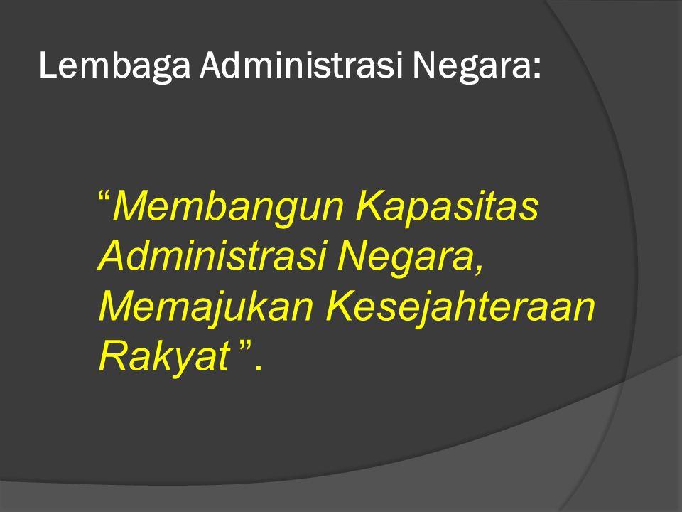"""Lembaga Administrasi Negara: """"Membangun Kapasitas Administrasi Negara, Memajukan Kesejahteraan Rakyat """"."""