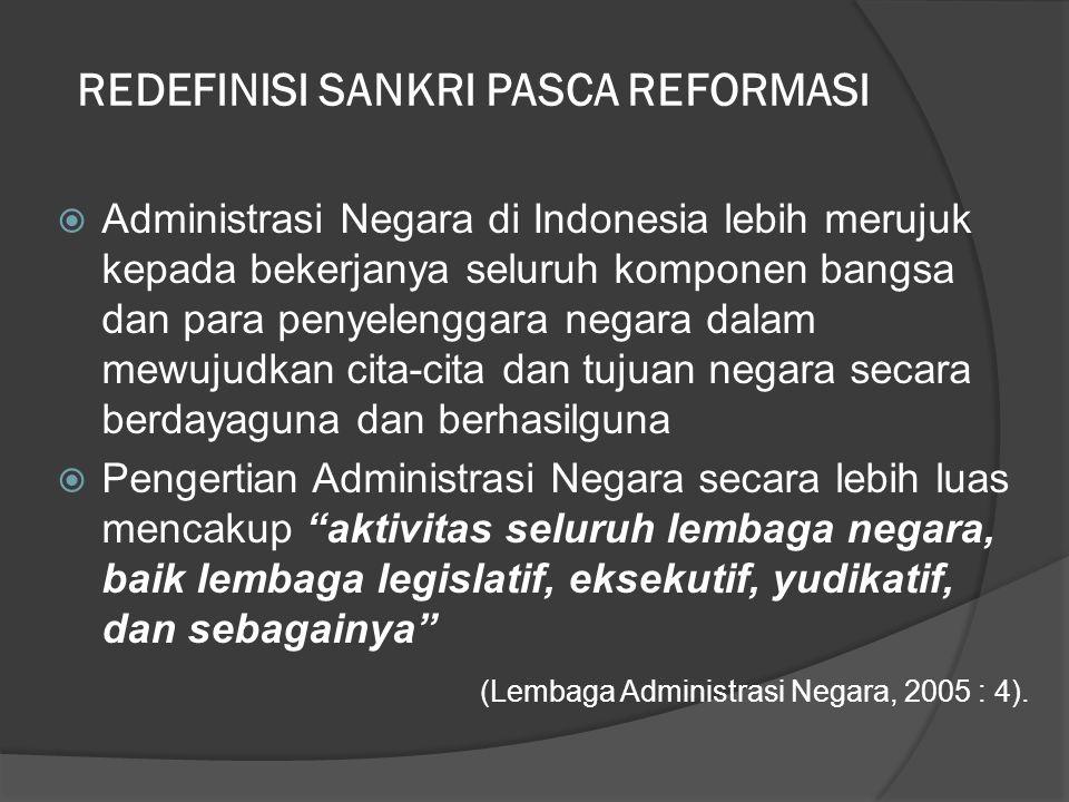  Administrasi Negara di Indonesia lebih merujuk kepada bekerjanya seluruh komponen bangsa dan para penyelenggara negara dalam mewujudkan cita-cita da
