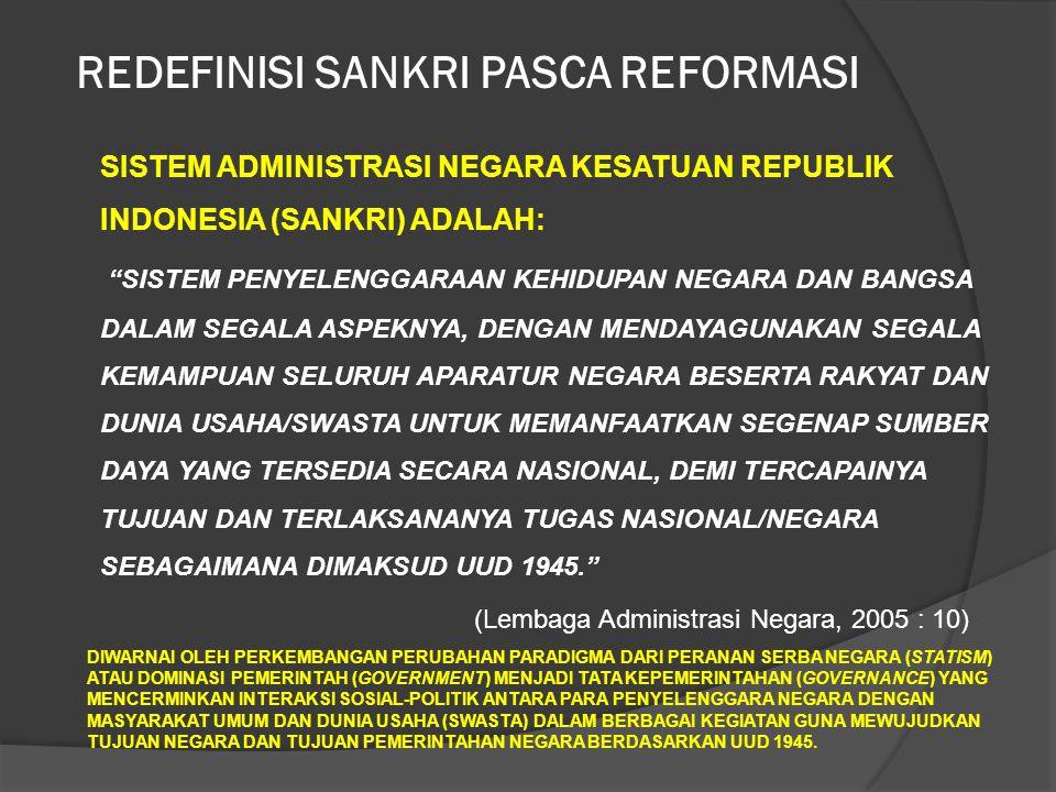 SISTEM ADMINISTRASI NEGARA KESATUAN REPUBLIK INDONESIA (SANKRI) ADALAH: SISTEM PENYELENGGARAAN KEHIDUPAN NEGARA DAN BANGSA DALAM SEGALA ASPEKNYA, DENGAN MENDAYAGUNAKAN SEGALA KEMAMPUAN SELURUH APARATUR NEGARA BESERTA RAKYAT DAN DUNIA USAHA/SWASTA UNTUK MEMANFAATKAN SEGENAP SUMBER DAYA YANG TERSEDIA SECARA NASIONAL, DEMI TERCAPAINYA TUJUAN DAN TERLAKSANANYA TUGAS NASIONAL/NEGARA SEBAGAIMANA DIMAKSUD UUD 1945. (Lembaga Administrasi Negara, 2005 : 10) DIWARNAI OLEH PERKEMBANGAN PERUBAHAN PARADIGMA DARI PERANAN SERBA NEGARA (STATISM) ATAU DOMINASI PEMERINTAH (GOVERNMENT) MENJADI TATA KEPEMERINTAHAN (GOVERNANCE) YANG MENCERMINKAN INTERAKSI SOSIAL-POLITIK ANTARA PARA PENYELENGGARA NEGARA DENGAN MASYARAKAT UMUM DAN DUNIA USAHA (SWASTA) DALAM BERBAGAI KEGIATAN GUNA MEWUJUDKAN TUJUAN NEGARA DAN TUJUAN PEMERINTAHAN NEGARA BERDASARKAN UUD 1945.
