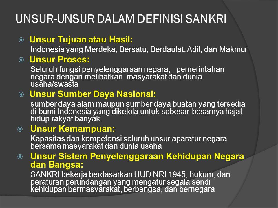 UNSUR-UNSUR DALAM DEFINISI SANKRI  Unsur Tujuan atau Hasil: Indonesia yang Merdeka, Bersatu, Berdaulat, Adil, dan Makmur  Unsur Proses: Seluruh fung