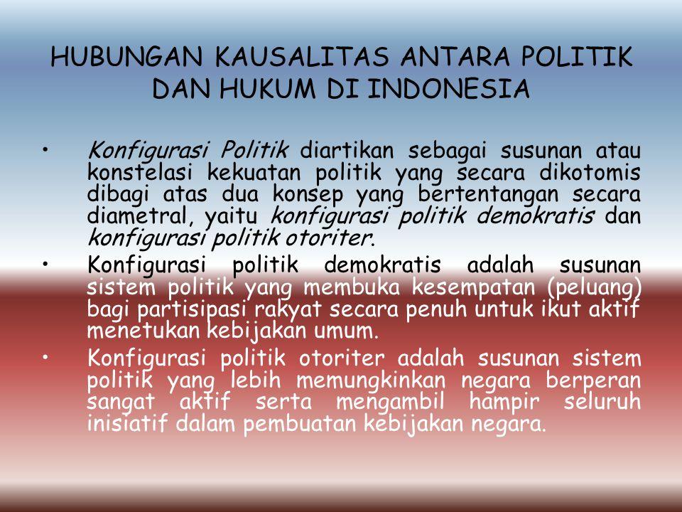 HUBUNGAN KAUSALITAS ANTARA POLITIK DAN HUKUM DI INDONESIA Konfigurasi Politik diartikan sebagai susunan atau konstelasi kekuatan politik yang secara dikotomis dibagi atas dua konsep yang bertentangan secara diametral, yaitu konfigurasi politik demokratis dan konfigurasi politik otoriter.