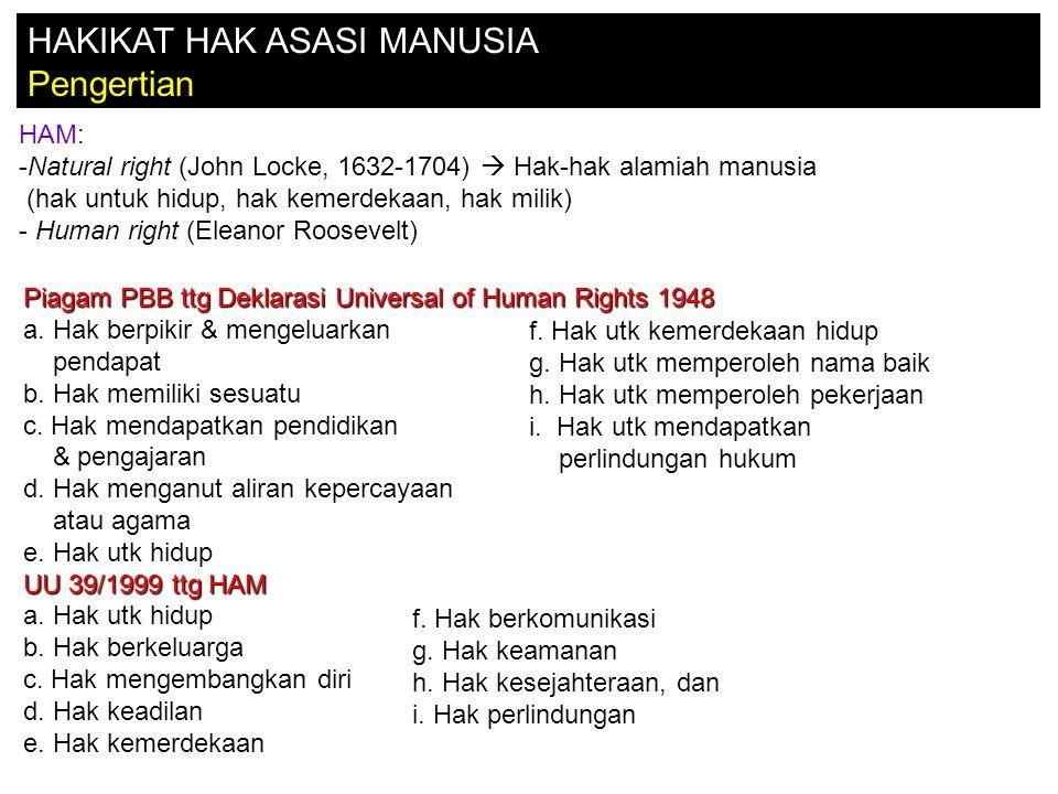 HAKIKAT HAK ASASI MANUSIA Pengertian HAM: -Natural right (John Locke, 1632-1704)  Hak-hak alamiah manusia (hak untuk hidup, hak kemerdekaan, hak milik) - Human right (Eleanor Roosevelt) Piagam PBB ttg Deklarasi Universal of Human Rights 1948 a.